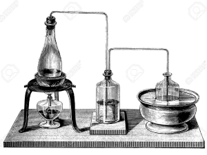 Vintage chemistry, double distillation equipment